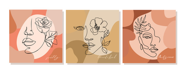 Set of  illustrations with one line continuous woman face and leaves. Abstract contemporary collage with geometric shapes. Design templates for covers, t-Shirt print, postcard, banner etc. Vector.