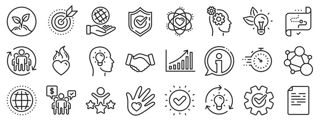 Integrity, Target purpose and Strategy. Core values line icons. Trust handshake, social responsibility, commitment goal icons. Growth chart, innovation, core values network. Vector