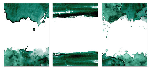 Watercolor dark green abstract background. Vector texture Wall mural