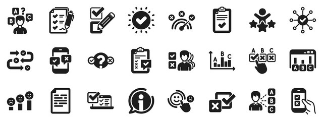 Opinion, Customer satisfaction feedback and Test icons. Survey, Report review icons. Checklist review, Quiz and Business report symbols. Evaluation quiz, Feedback chart, Management. Vector