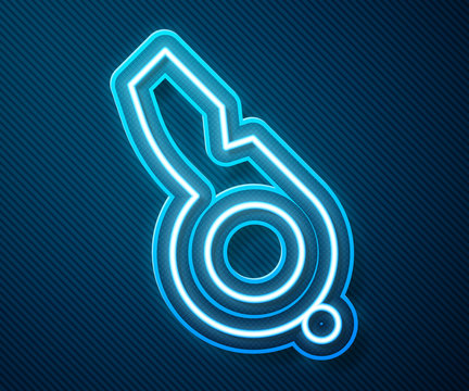 Glowing neon line Whistle icon isolated on blue background. Referee symbol. Fitness and sport sign. Vector Illustration
