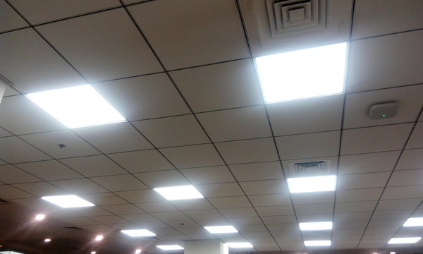 Grid ceiling for an office workstation area by calcium silicate materials for an office building