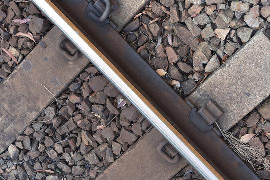 Close up of train tracks