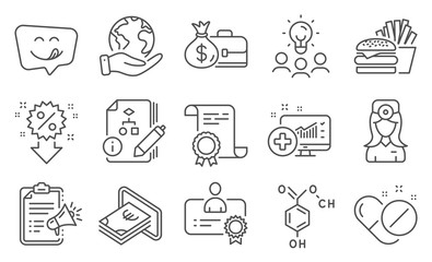 Set of Business icons, such as Medical pills, Burger. Diploma, ideas, save planet. Algorithm, Discount, Megaphone checklist. Medical analytics, Cash, Yummy smile. Vector