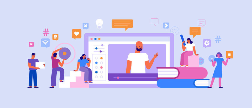 Vector illustration in flat simple style with characters - online education concept - students studying and learning using online platform and video course