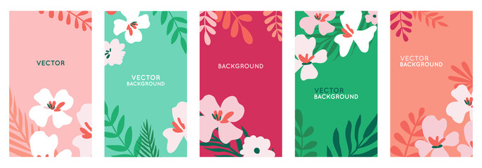 Vector set of abstract backgrounds with copy space for text - bright vibrant banners, posters