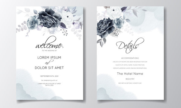 Elegant gray floral wedding invitation card template with silver leaves and watercolor frame