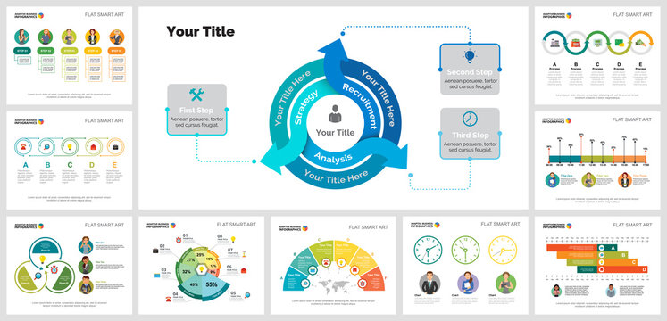 Colorful strategy or logistics concept infographic charts set. Business design elements for presentation slide templates. Can be used for financial report, workflow layout and brochure design.