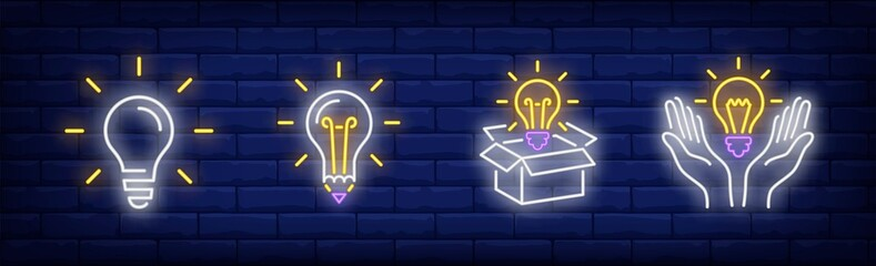 Lightbulbs neon sign set. Bulb, lamp, box, hands. Vector illustration in neon style, bright banner for topics like illumination, inspiration, idea Wall mural