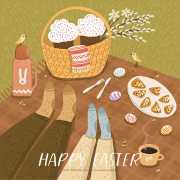 Vector illustration for Easter with couple celebrating on picnic