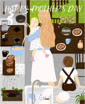 Vector illustration for Mother`s Day with mom and her children in the kitchen