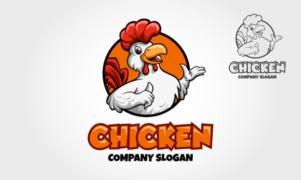 Chicken Mascot Logo. A happy Cartoon Rooster chicken giving a thumbs up in a circle graphic