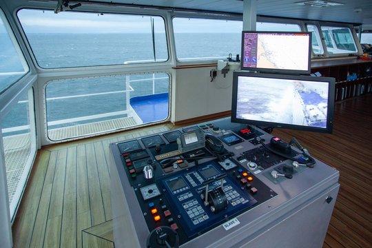 The wheelhouse of a ferry