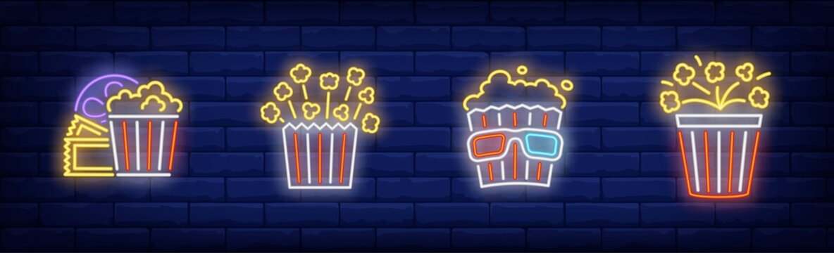 Pop corn neon sign set. Bucket, 3d glasses, reel, explosion. Vector illustration in neon style, bright banner for topics like cinema, movie watching, entertainment
