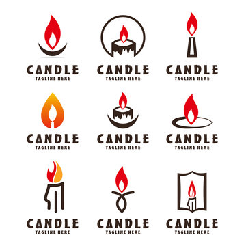 set Candle icon on white background. Candle vector logo. Flat design style. Modern vector pictogram