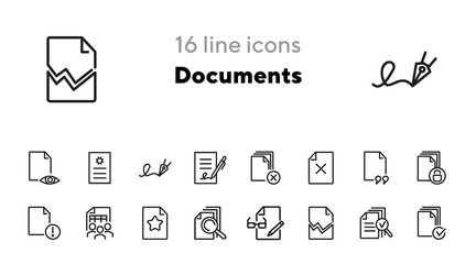 Documents line icon set. File, print, torn, lock, signature. Paperwork concept. Can be used for topics like agreement, business, approved document