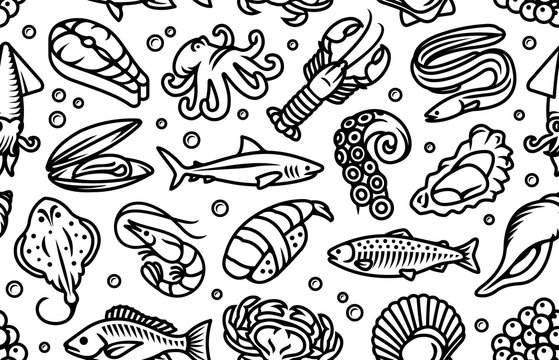 Seafood, fish and sea animals black seamless vector pattern wallpaper