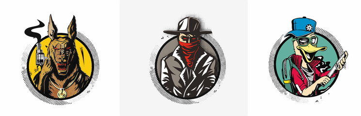 Set of t-shirt of  gangsters design poster - Vector Illustration.