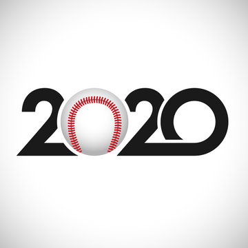 Baseball competition of 2020 icon, awards concept. Cut number logo with ball, creative sign. Isolated abstract graphic design template. Black digits, white background. Sports symbol. Decoration idea.