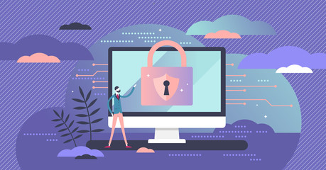 Cyber security concept, flat tiny person vector illustration