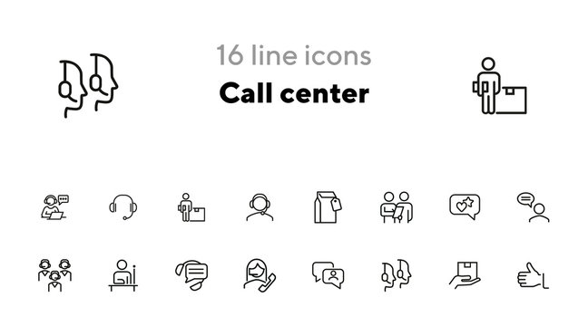 Call center line icon set. Operator, employee, contact center. Customer service concept. Can be used for topics like hotline, consulting, support