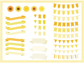 Garland set of sunflower flower and image color.