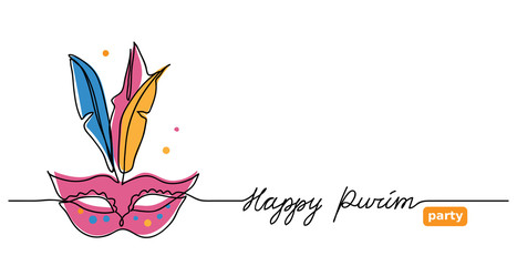 Happy purim simple vector web banner with carnival mask . One continuous line drawing, doodle, background, illustration with lettering  Happy purim and mask.