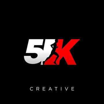 5k run logo design vector icon