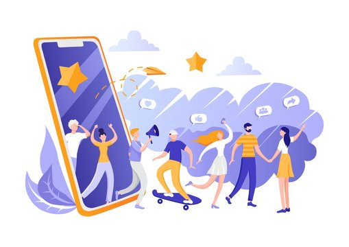 Concept of referral marketing, loyalty program, Refer Friend, promotion method. Group of customers, people holding hands and walking out of giant smartphone. Modern flat vector illustration EPS