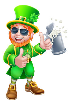 A Leprechaun St Patricks Day cartoon character mascot wearing cool sunglasses holding a drink and giving a thumbs up