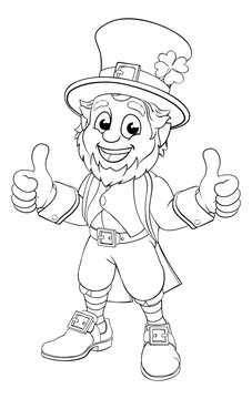 A leprechaun St. Patrick s day cartoon character in black and white outline like a colouring book page