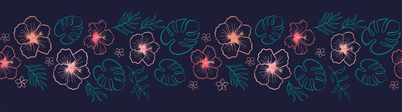 Lovely hand drawn tropical flowers and leaves horizontal seamless pattern, hibiscus and palm tree leaves, great for textiles, banners, wallpapers - vector design