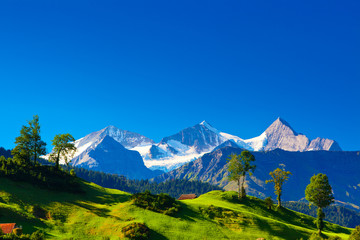 Tuinposter Donkerblauw this is awesome view of Switzerland natural landscape with mountain