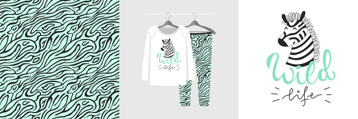 Wall Mural - Seamless pattern and illustration with zebra, quote Wild life