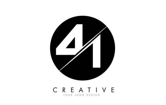 41 4 1 Number Logo Design with a Creative Cut and Black Circle Background.