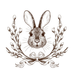 .Easter Bunny in a wreath of willow branches.Engraved design elements.Festive vintage image.Hand drawn vector illustration..