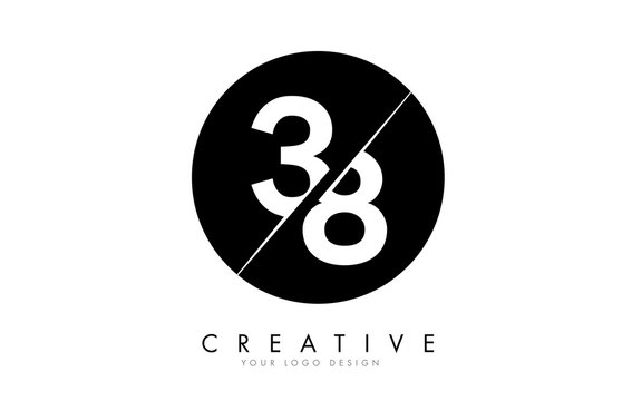 38 3 8 Number Logo Design with a Creative Cut and Black Circle Background.