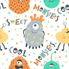Cute seamless pattern with monsters.
