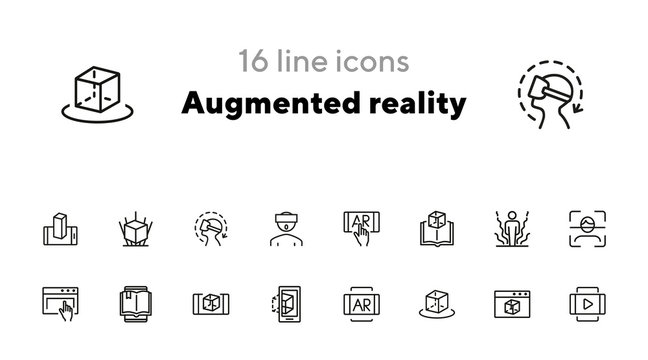 Augmented reality line icon set. Smartphone, games, book reader. Modern technology concept. Can be used for topics like 3d modeling, simulators, development
