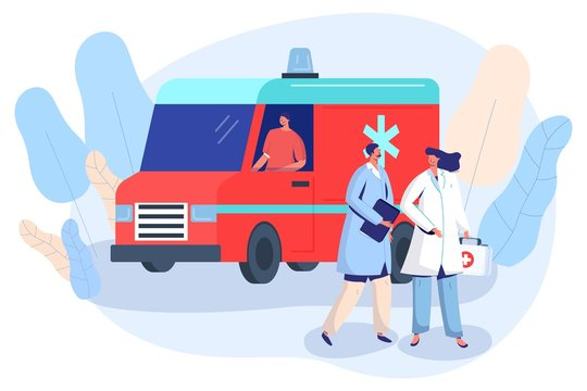 Doctor and nurse at ambulance car, first aid vehicle vector illustration. Medical healthcare center emergency service, hospital staff cartoon characters. Smiling doctor and ambulance driver flat style
