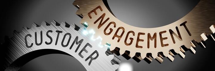 Customer engagement - gears concept - 3D illustration