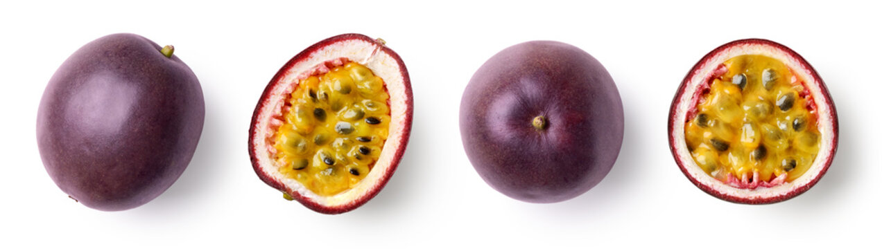 Set of whole and half of fresh passion fruit