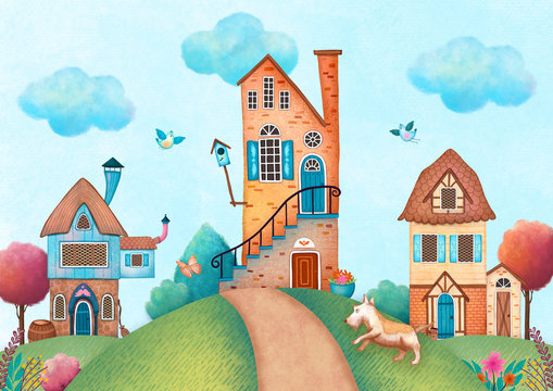 Hand drawn digital illustration of whimsical houses with a dog chasing butterfly for use as a background, card, banner, kid illustration