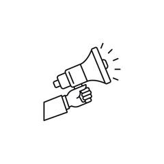 Hand holding megaphone vector icon