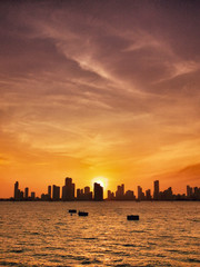 Cartagena skyline at sunset