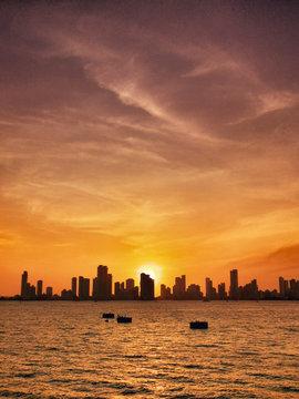 Cartagena skyline at sunset