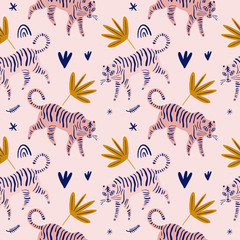 Cute tiger cat seamless pattern vector print, nursery illustration in scandinavian style, animal pink skin repeat design, kids wrapping paper