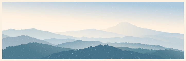 Mountain morning landscape panoramic type with the silhouettes of the mountains against the dawn