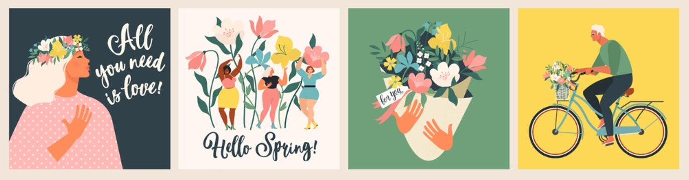 Happy Womens Day March 8! Cute cards and posters for the spring holiday. Vector illustration of a date, a woman and a bouquet of flowers!