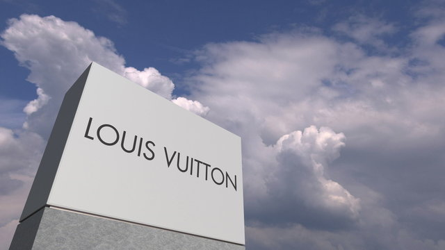 LOUIS VUITTON logo against sky background, editorial 3D rendering